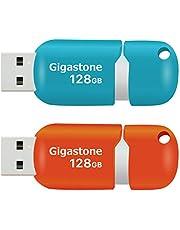 Gigastone V10 128GB USBメモリ USB 2.0 キャップレス スライド式 青 オレンジ 2個セット