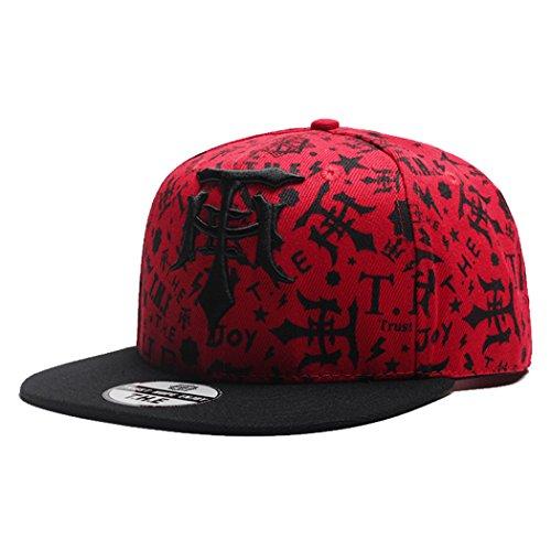 VWill キャップ メンズ レディース ヒップホップ キャップ 野球帽 Hip Hop風 帽子 THE態度 刺繍 カジュアル ゴルフ 旅行 UVカット 調節可能 男女兼用 (全3色 赤)