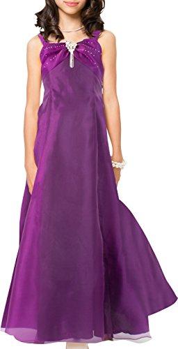 [アリサナ]arisana ドレス 子供 発表会 結婚式 女の子 ロングドレス ジュニア ピアノ こども 子供ドレス ピアノ発表会 (ドレス+ブローチの2点セット) パープル 160cm