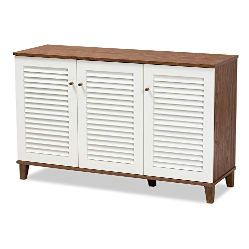 Baxton Studio Shoe Cabinets, White/Walnut
