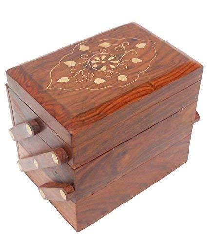 WhopperIndia 3 compartimento Joyero de madera para mujer,