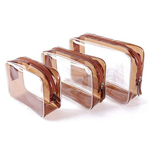 Trousse de Toilette Transparente Trousse de Maquillage Plastic 3 Pieces Marron (Différentes Tailles) Trousse de Voyage pour Femmes Hommes Enfants Douche Imperméable
