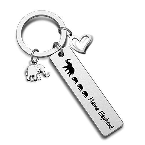 G-Ahora Mama Elephant Keychain Mama and Baby Elephant Jewelry Elephant Gift for Mom New Mommy(3 Elephant KR)