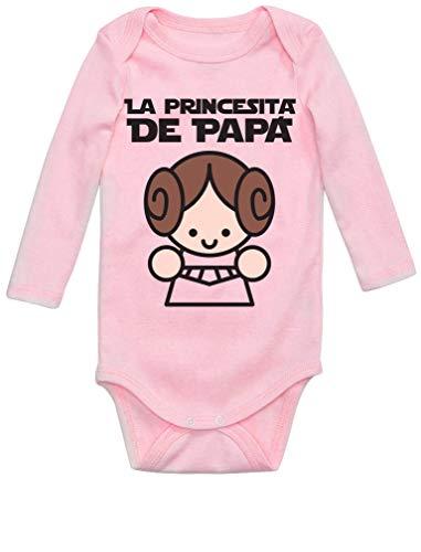 Body de Manga Larga para bebé Regalos Originales para Padres Primerizos - La Princesita de Papá 0-3 Mes Rosa