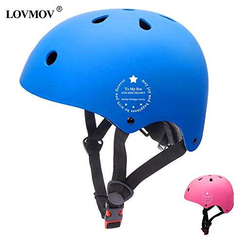 LOVMOV Caschetti per Bambini Toddle Casco Regolabile Bicicletta Casco Sicurezza leggerezza per Multi-Sport Ciclismo Pattino a rotelle Primo Regalo di Compleanno età 3-8 Anni Ragazzi Ragazze (Blu)