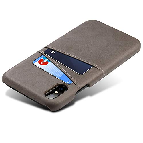 AmaZorro Leather Wallet Card Holder Slim Case Cover fo iPhone 7 8 Plus X XS XS MAX XR (Gray, iPhone XR)