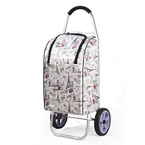 WLG Shopping Carts Für Lebensmittel Mit Rädern Falten Kleine Wagen Haushalt Trolley Aluminium-Legierung Anhänger Tragbare Trolley/B