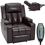 HOMHUM Massage Recliner Chair Leather Recliner for Living Room Ergonomic Home Sofa Chairs w/ 2 Cup Holders, Heat & Massage,Side Pocket, Remote Control,Brown