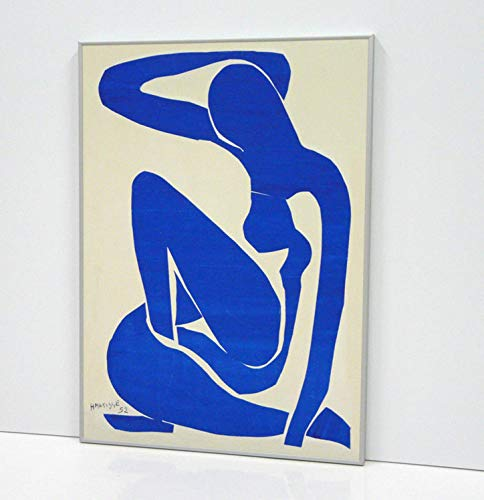 BaikalGallery H. Matisse Blue Nude I 1952 Cuadro Enmarcado (P2296)-Moldura de Aluminio Mate Color Plata - Montaje en Panel Adhesivo (Foam)- Laminado en Mate (Sin Cristal) (40x56cm)