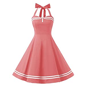Women's Vintage Dresses 50s Cocktail Rockabilly Dress for Spring/Summer Short Halter Big Swing Party Prom Dress