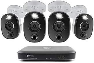 Swann 4 Channel 4 Camera DVR Security System, Wired Surveillance 4K HD DVR-5580 + 1TB HDD, Color Night Vision, Heat & Motion Sensing Warning Light, Alexa + Google, SWDVK-455804WL