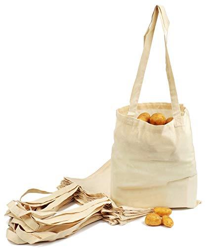 com-four® 12x Bolsas de Tela para IR de Compras - Bolsas Tela Reutilizable sin impresión, Ideal para Pintar - Bolsas de Lona - Oeko-Tex® Standard 100 (12 Piezas - 38x42cm - Mango Largo)