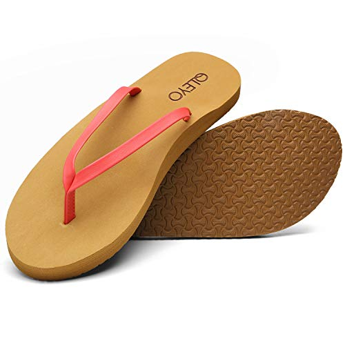 QLEYO Arch Support Flip Flops for Women, Soft Mat Foam Sandal, Handcrafted Thong Shoes for Travelling/Beach/Pool/Party QLTX03-1-W26-9