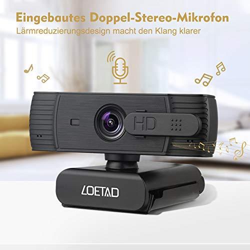 LOETAD Webcam 1080P Autofokus Full HD Kamera mit Abdeckung 2 Mikrofon Stereo-Sound für Video Chat Streaming