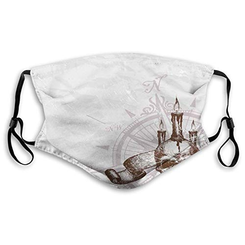 Compass with Skull and Candles Spooky Adventure New Pirate Destinations Theme Dustproof Windproof Face Mask,Washable Cloth,Face Cover,Cover for Dust Teens