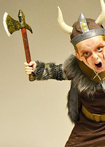 Adatto per adulti e bambini. Costume da guerriero vichingo Ascia in plastica 39 cm.