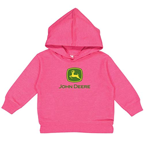 John Deere Youth Girl Hooded Sweatshirt-Hot Pink-S