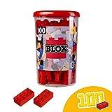 Simba 104118905 Blox, rote Bausteine Made in Italy, 8er Steine, inkl. Aufbewahrungsdose, höchste Qualität und 100 Prozent kompatibel mit bekannten Spielsteinen