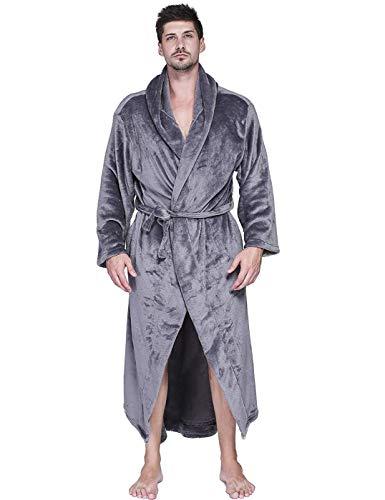 VERNASSA Mens Fleece Robe, Long Hooded Bathrobe Sleepwear Dark Grey XX-Large