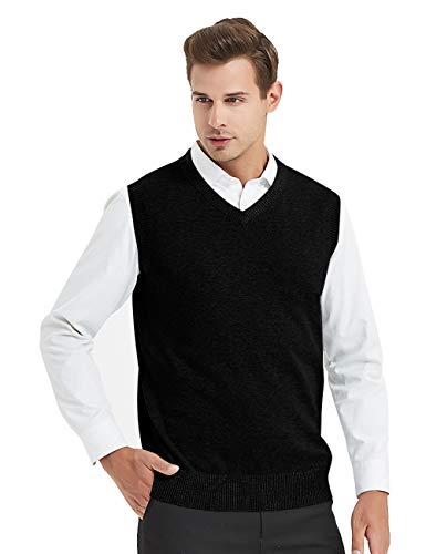 TOPTIE Mens Business Solid Color Plain Sweater Vest, Cotton Fit Casual Pullover-Black-XL