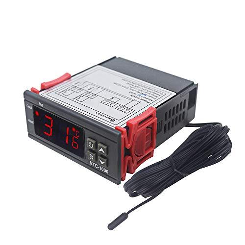 KETOTEK Digitale Temperaturregler STC1000,Thermostat 220V mit 2m Wasserdichter Sensor Sonde,Doppel Relais Temperaturwächter für Heizen Kühlen Gefrierschrank Aquarium Inkubator