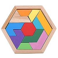 PULABO パターンブロックとボード古典的なおもちゃカラフルな木製タングラムジグソーパズル就学前の子供のための知能パズル非常に実用的で人気のある子供信頼