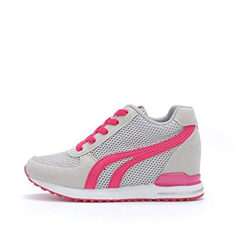 AONEGOLD® Zapatillas de Cuña para Mujer Zapatillas de Deporte Zapatillas Altas Primavera/Verano Tacón Cuña 7CM(Gris,40 EU)
