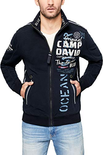 Camp David Herren Sweatjacke mit Tapes und Label-Applikationen