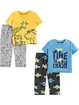 Simple Joys by Carter s Boys  4-Piece Pajama Set  Short Sleeve Poly Top & Fleece Bottom  Animal/Trucks 3T