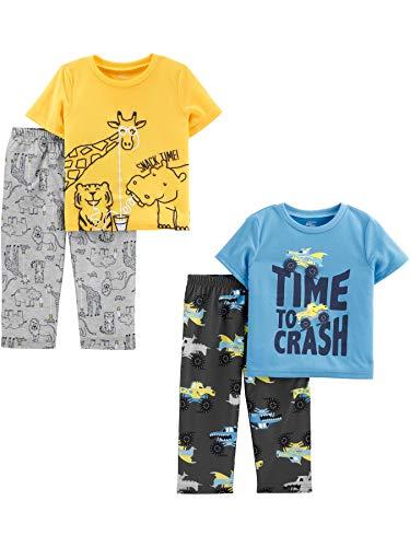 Simple Joys by Carter's Boys' 4-Piece Pajama Set (Short Sleeve Poly Top & Fleece Bottom), Animal/Trucks, 3T