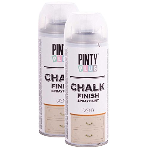 Chalk Finish Spray Paint, Water Based, Eco-Friendly, Superior One Coat Coverage, Dries Fast, PintyPlus, 13.5 oz, 2 Pk -Cream