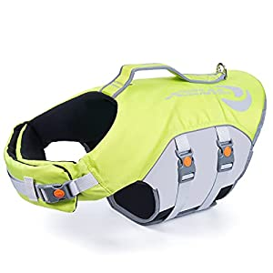 ThinkPet ペットライフジャケット 水泳用ライフジャケット 高密度 水遊び 浮力が優れる 犬の安全に守る (XS, グリーン)