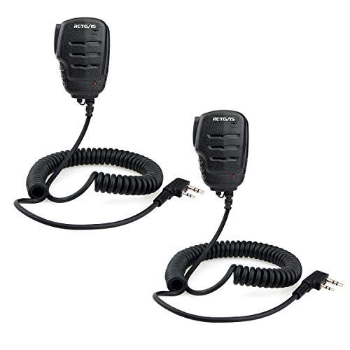Retevis RS111 Walkie Talkies Lautsprechermikrofon 2-Polig Kompatibel mit eSynic UV-5RUV-5R BF-888S BF-88E RT24 RT27 Funkgerät (2 Stück)
