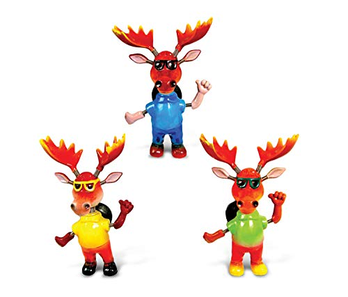 CoTa Global Cool Moose Refrigerator Bobble Magnets Set of 3 - Assorted Color Fun Cute Wild Life Animal Bobble Head Magnets For Kitchen Fridge, Home Decor and Cool Office Decorative Novelty - 3 Pack