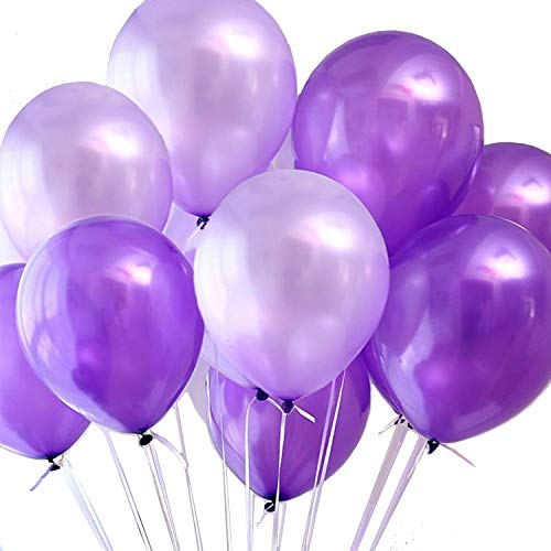 100pcs Balloons Purple Lavender Mixed Balloons Latex 10 Inch Pearl Helium Purple Balloon for Wedding Birthday Graduation Party Decorations