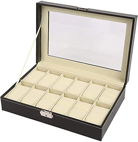 zxianc Caja organizadora para relojes con 12 compartimentos, con soporte para cojines, piel sintética, color negro