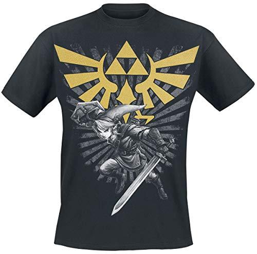 Nintendo Herren T-Shirt, L, Zelda/Link, schwarz