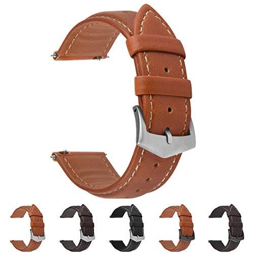 Fullmosa Correa de Reloj de Piel Liberación Rápida, Labu Pulsera de Repuesto de Cuero Engrasado para Relojes 18 mm 20 mm 22 mm Mujer Hombre, Marrón Oscuro + Hebilla Plata 22mm