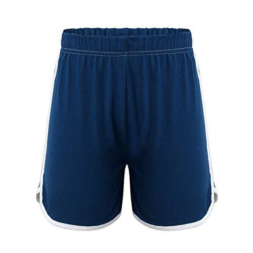 YOOJIA Short de Sport Fille Shorts de Course à Pied Bermuda Pantalon Court Shorts Danse Gym Stretch Short d'été Décontracté Hot Pants Coton Taille élastique Bleu Marin 2-3 Ans