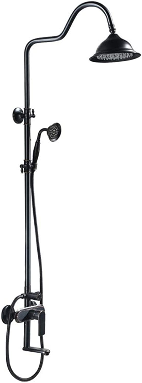 LHW Shower Set chset, europische Schwarz-, Kupfer-, Booster-Dusche, Multi-Funktion, heie und kalte Dusche Wasserhahn