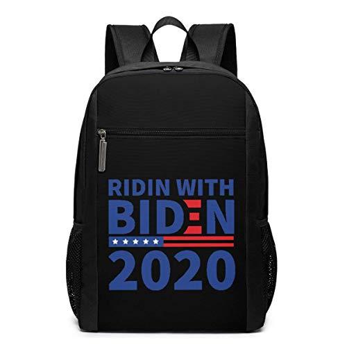ZYWL Ridin with Biden - Mochila para portátil de Viaje de 17 Pulgadas Utra-Premium Election 2020, Mochila, Bolsa de Negocios