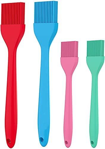 BAKEFETE Pastry Brush - Silicone Basting Brush For Cooking And Baking, Grilling, BBQ - Easy Cleaning Silicone Brush For Marinating, Spread Butter Oil Sauces - 4 Vibrant Colors Baking Set