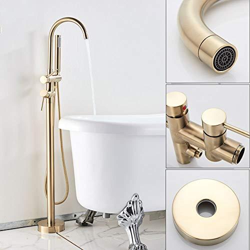 Bodenmontierter Badewannen-Duscharmatur, freistehende Badezimmer-Duschmischerhähne mit Handbrause Einhand-Badewannenfüller,Brushed golden