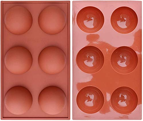Semi Sphere Silicone Mold, 2 Packs Baking Mold for Making Hot Chocolate Bomb, Cake, Jelly, Dome Mousse (6 Holes)
