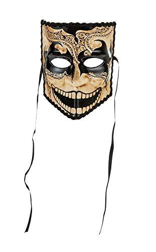 """Klassisch venezianische Maske """"La Bauta"""" mit mexikanisch geprägtem """"Dark-Dekor"""", schwarz-weiße Feinbearbeitung. Made In Italy - Schnur aus Satin."""