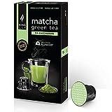 King Cup - 1 Paquete de 10 Cápsulas de Matcha Tea Sin Azúcar, 10 Cápsulas 100% Compatible con el Sistema Nespresso de Bebida con Sabor de Tè Matcha, Sin Gluten y Sin Lactosa
