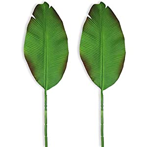 Beebel Artificial Plants 37″ Tall Banana Leaves 2 Pcs Faux Large Bird of Paradise Frond Tropical Palm Leaves Imitation Ferns Leaf for Home Party Flowers Arrangement Wedding Decorations
