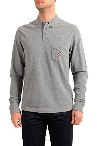 Moncler Men's Slim Fit Gray Long Sleeve Polo Shirt US L IT 52