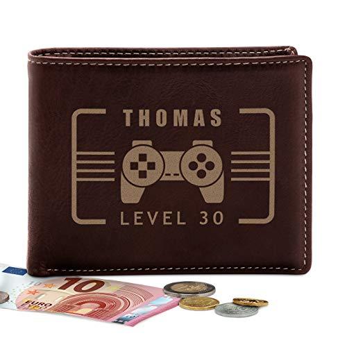 Murrano Ledergeldbörse Portemonnaie Herren mit Gravur - Geldbeutel Brieftasche - Geschenk Geburtstag Mann - 12,5x10cm - aus Echtleder - braun - Gamer