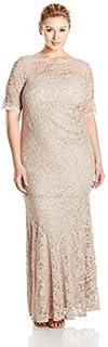 Xscape Women's Plus Size Long Lace Short Sleeve Dress